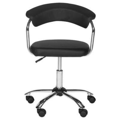 Super Safavieh Pier Synthetic Leather Desk Chair In Black Machost Co Dining Chair Design Ideas Machostcouk