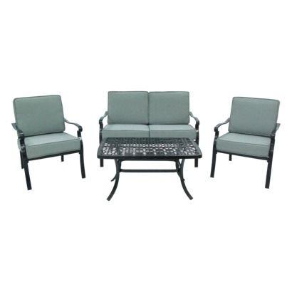 "target homea""¢ conservatory 4 piece metal patio conversation"