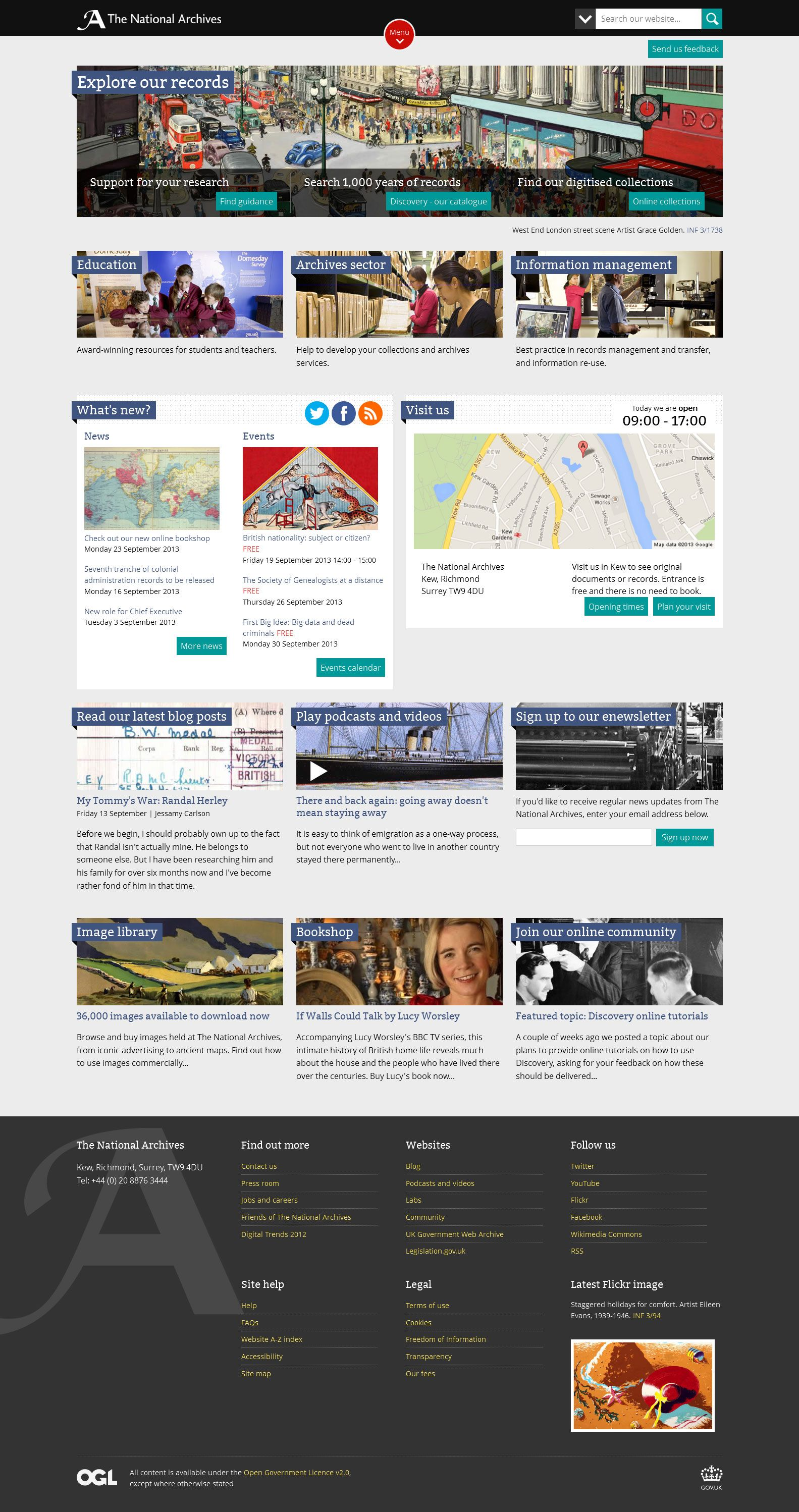 Redesigned Homepage September 2013 National Archives Archive Whats New