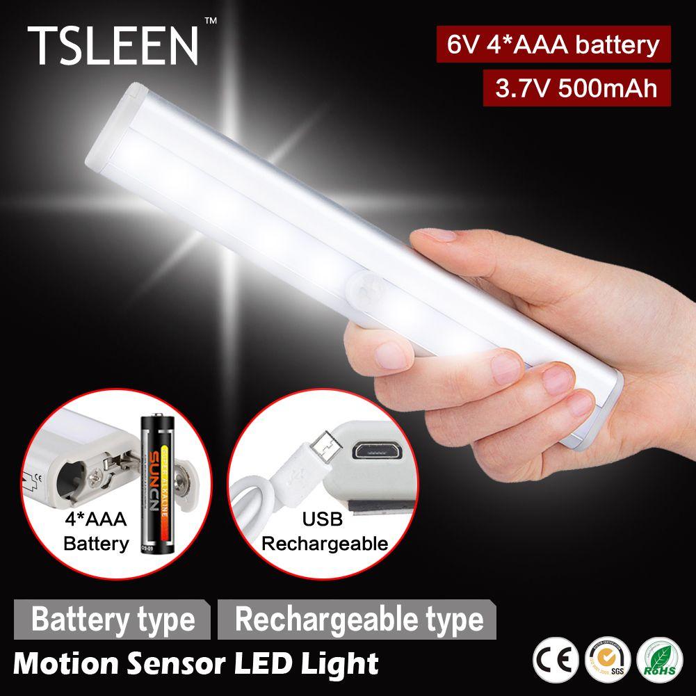 Tsleen led pir motion sensor night light wireless closet drawer wall