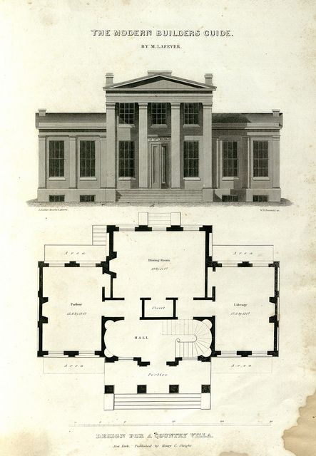 Minard Lafever Modern Builder S Guide Neoclassical Architecture Architectural Floor Plans Architecture Drawing