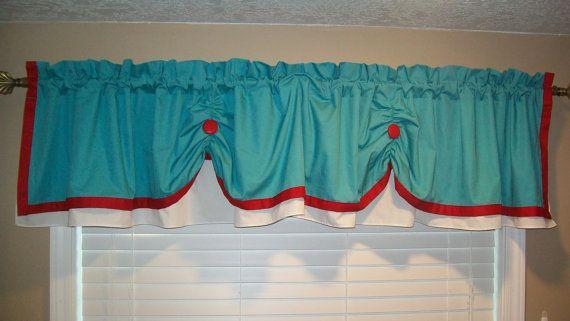 Valance Curtain Swagged Custom made Bathroom, Kitchen, Aqua ...