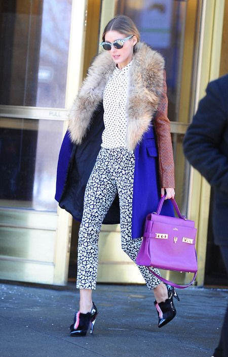 Olivia Palermo #leather + #fur #fallfashion #streetstyle