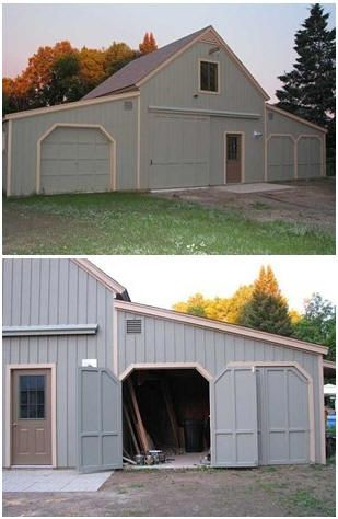 Mg roadster barn the inexpensive stock applewood pole for Garage plans ontario