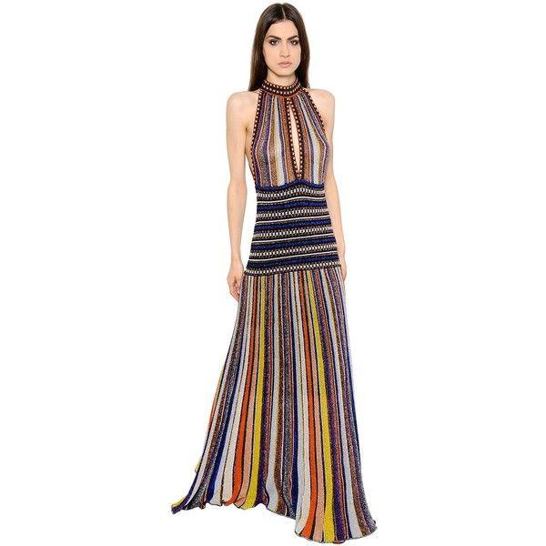 Missoni Women Cutout Striped Lamé Rib Knit Dress ($2,770) ❤ liked ...