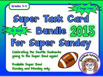 Super Sunday Task Card Bundle: 12 Sets for Just $12! Super Bowl Sunday and Monday only so grab it fast!