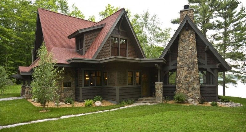 Best Mountain Style Brown Two Story Wood Exterior Home With A Gable Roof Exposed Stone Mortar Chimney 400 x 300