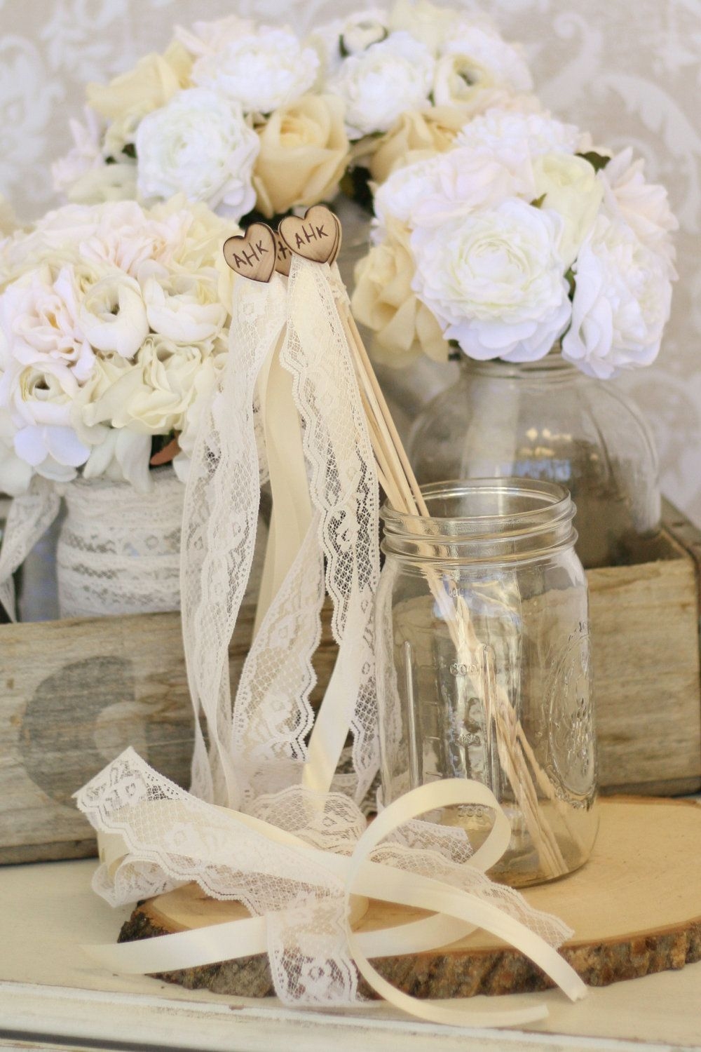 So pretty! Personalized Wedding Wands Rustic Chic Decor SET of 25 ...