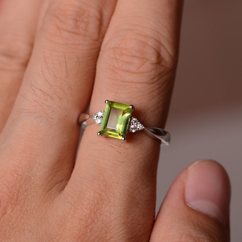 Natural Peridot Ring Silver Size Yellow Green Gemstone Ring August ...