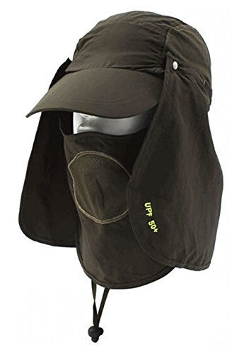 IIoport Unisex Adult Outdoor Sun Protection Fishing Cap Neck Face Flap Hat  (Army Green 65602c5d4b6c
