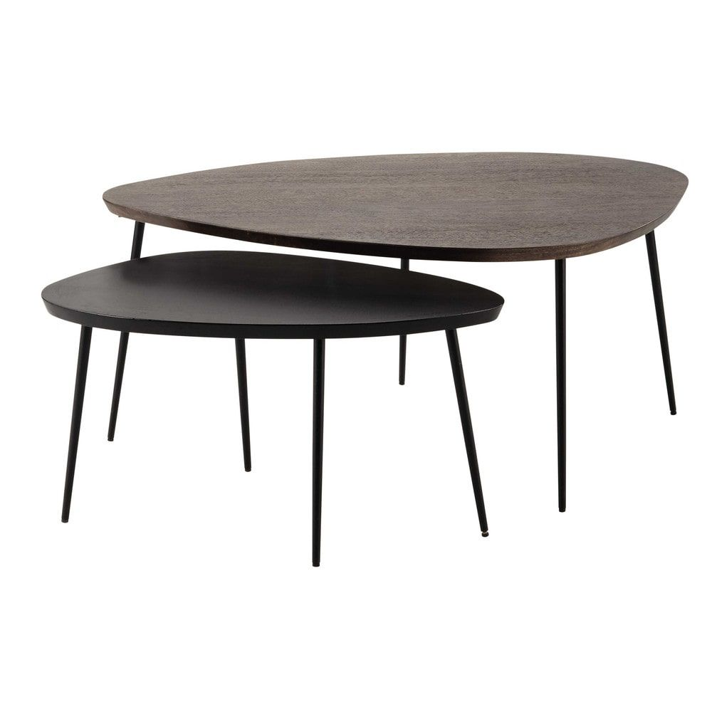 2 tables basses gigognes en manguier L 105 cm et L 73 cm | deco