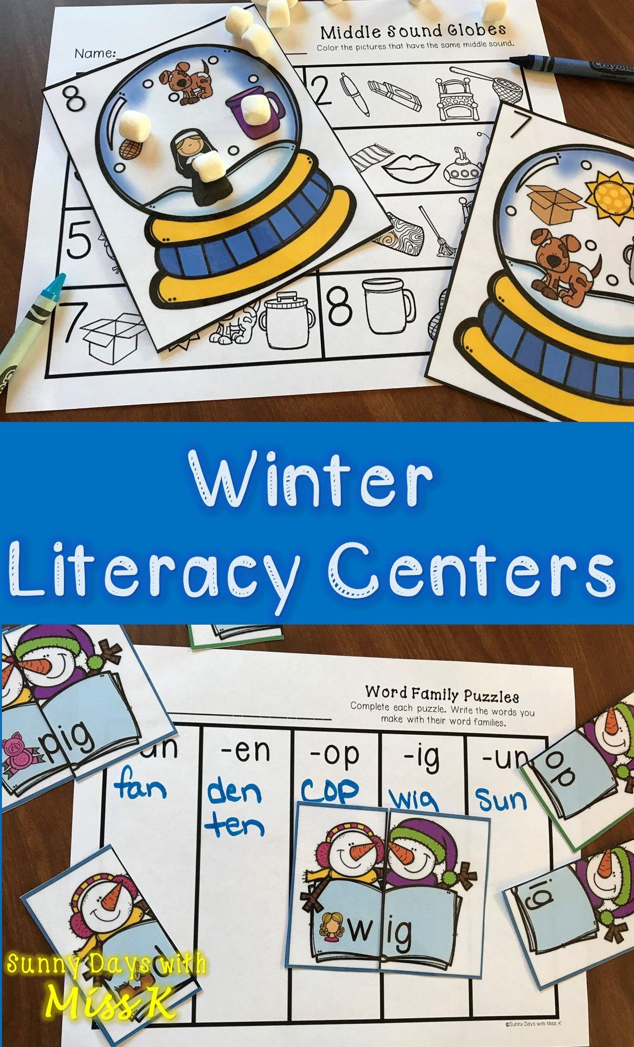 Kindergarten Winter Literacy Centers