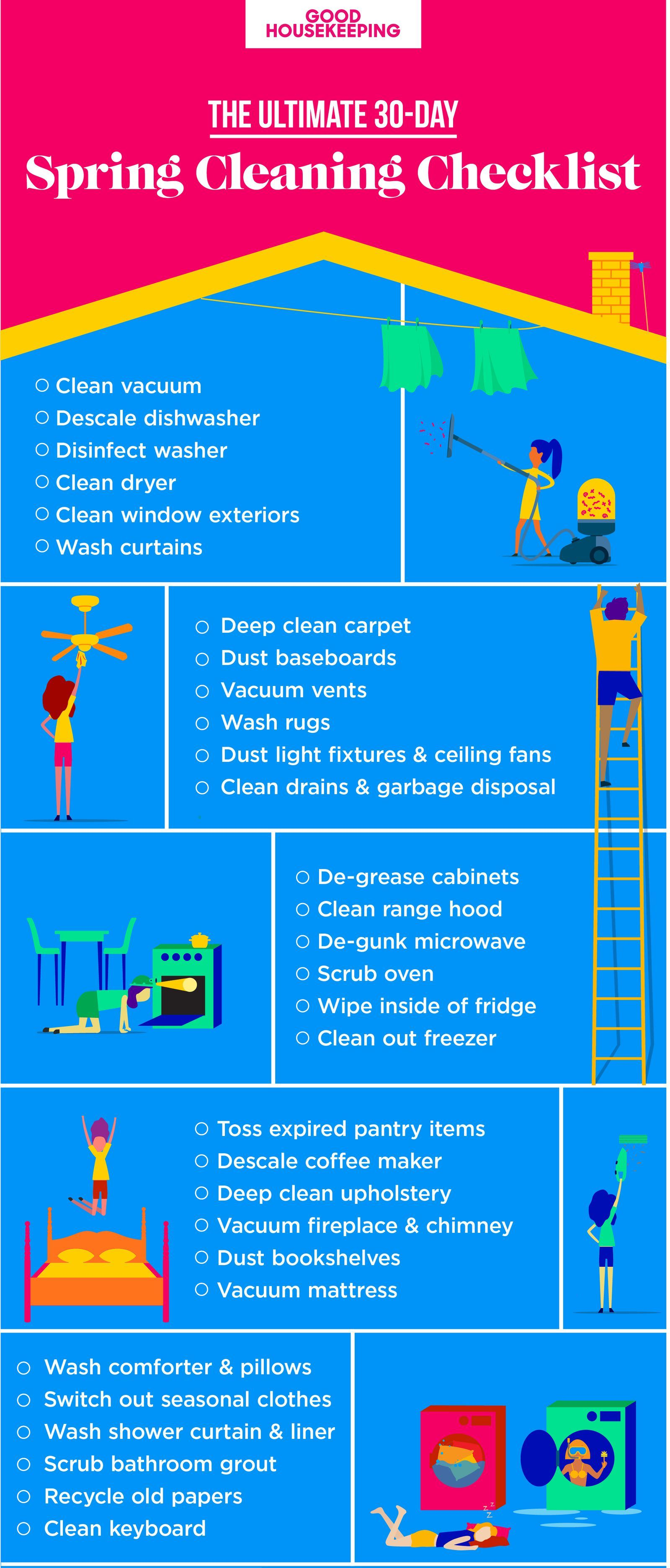 A 30 Day Guide to pleting All of Your Spring Cleaning Tasks