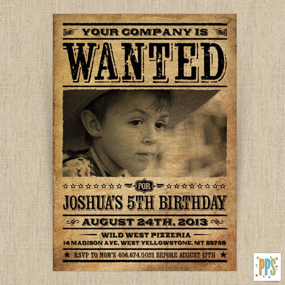 Printable Western Wanted Poster Customizable by PartyPopperStudio - free printable wanted poster