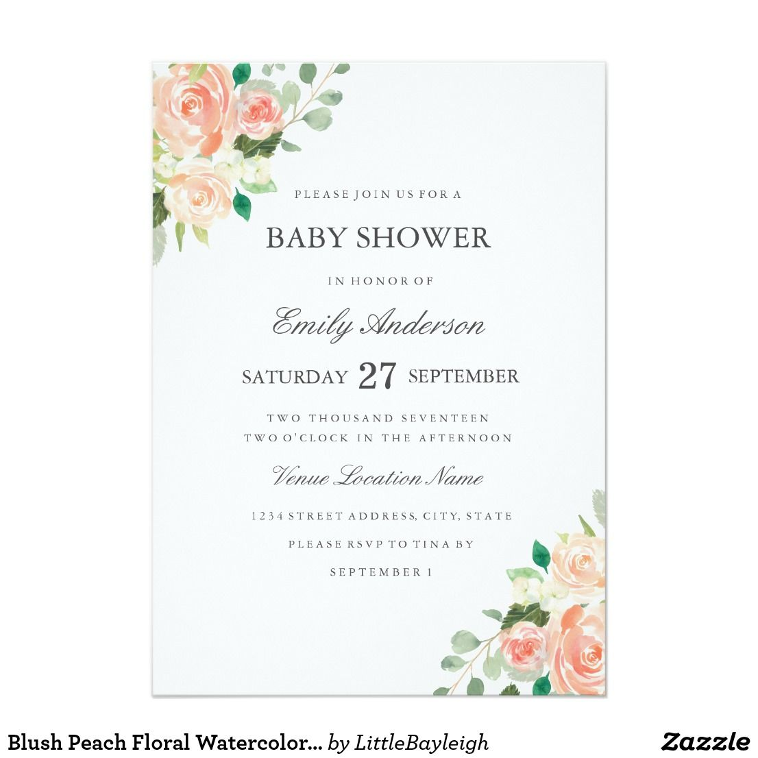 Blush Peach Floral Watercolor Baby Shower Invite