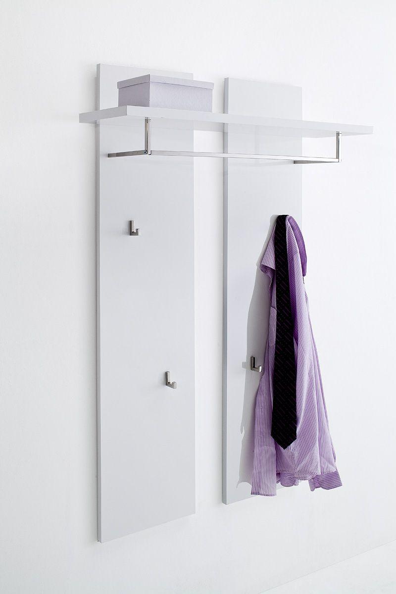 Wandpaneel Nemo Hochglanz weiß lackiert passend zum Garderobenprogramm Nemo 1 x Wandpaneel mit 1 Hutablage 1 Kleiderstange und 4 Kleiderhaken Material: MDF-Platte Lack... #flur #kleiderpaneel