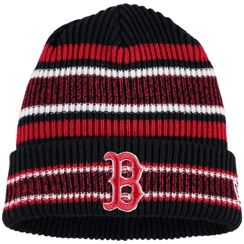 on sale bf7f6 cbfab reduced boston red sox new era vintage stripe cuffed knit hat navy 3c61d  d8806