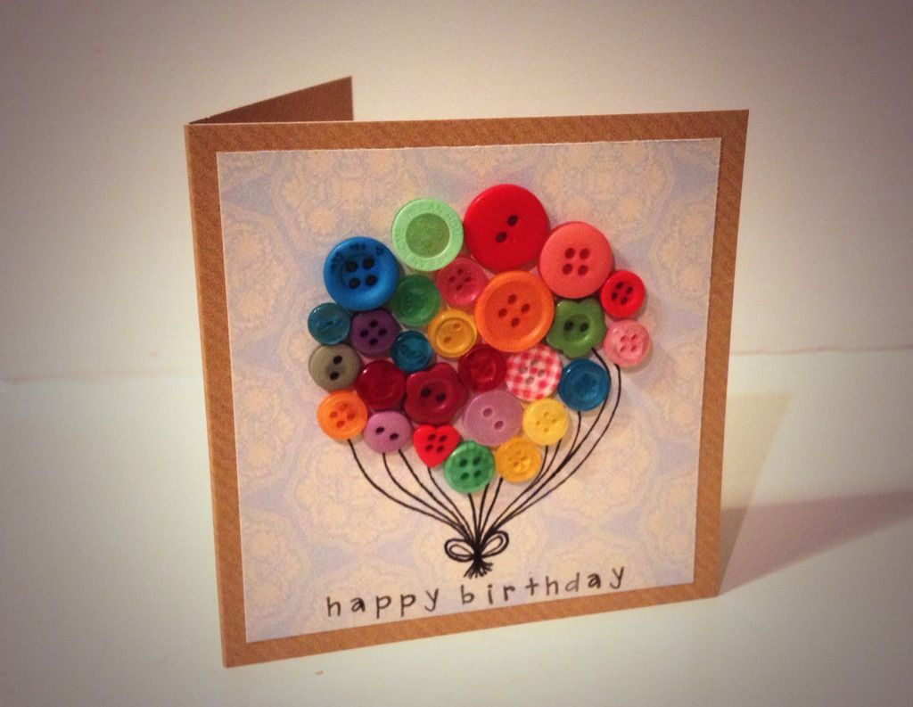 Handmade Birthday Card Button Balloon With Hand Stamped Happy