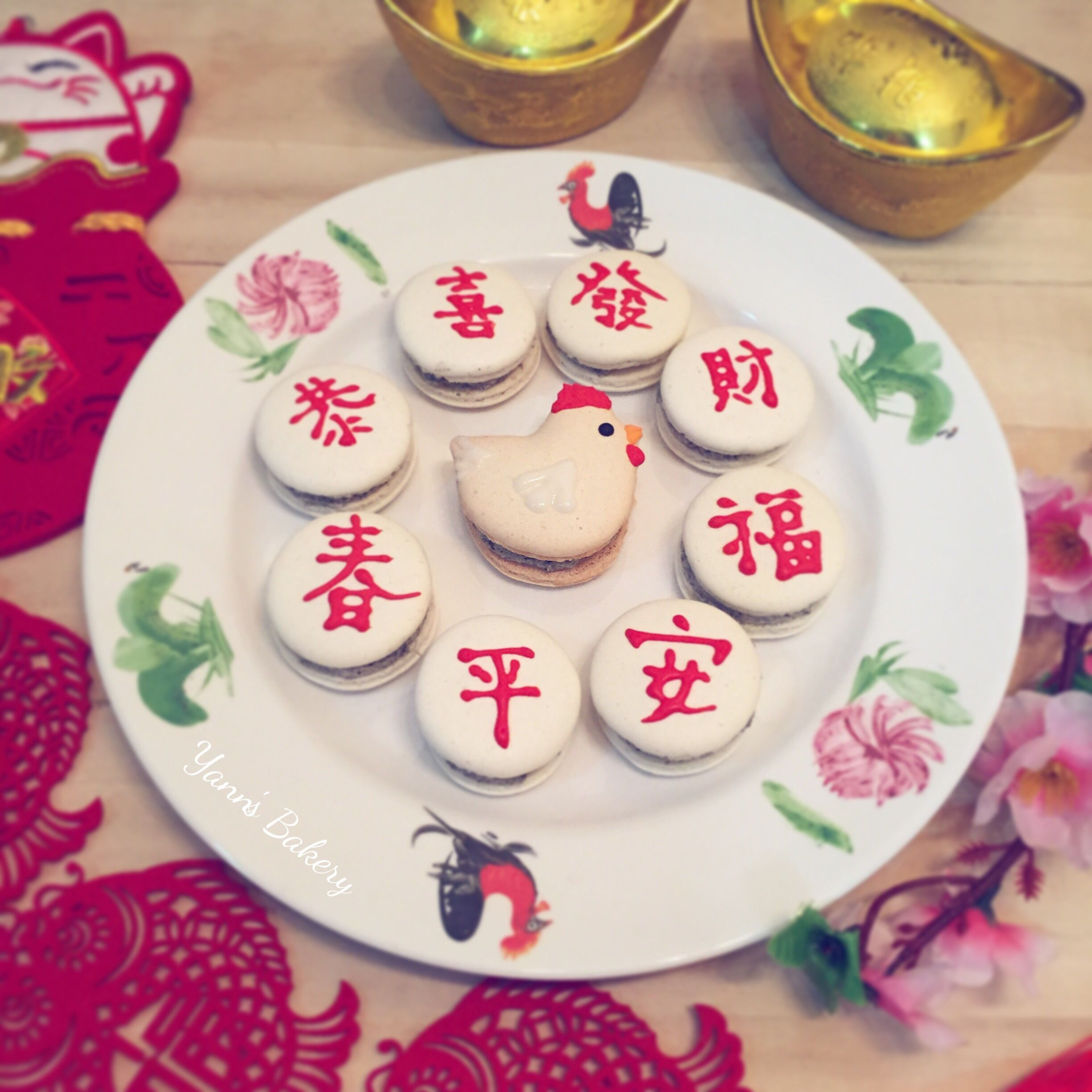 Homemade CNY Macarons with Black Sesame Buttercream
