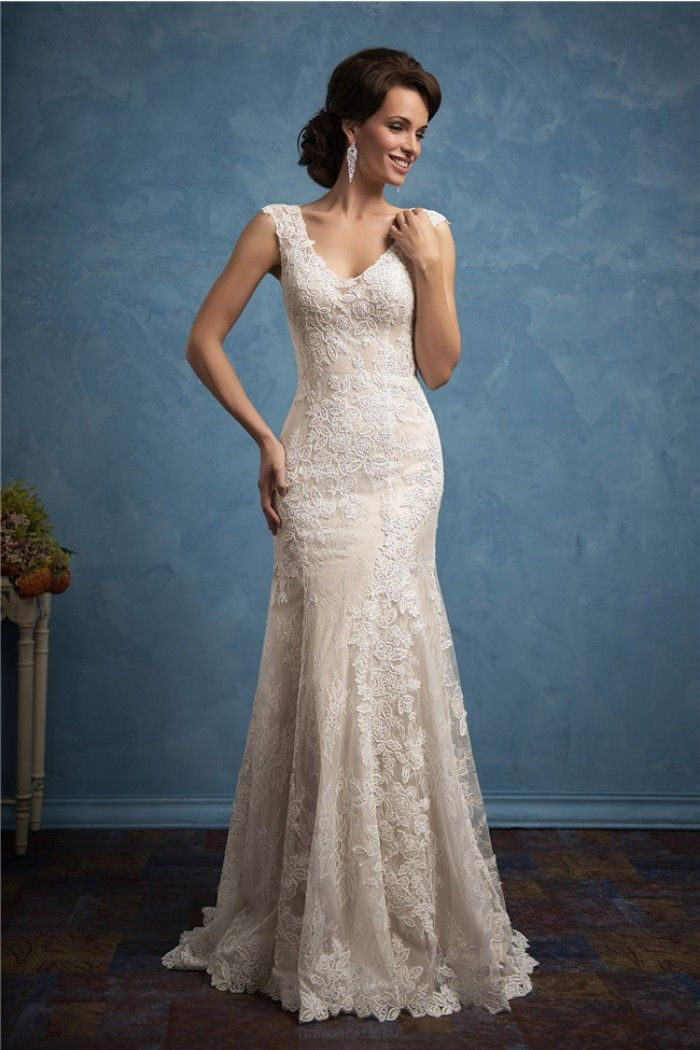 Fantastic Sheath V Neck Cap Sleeve Champagne Satin Lace Wedding ...
