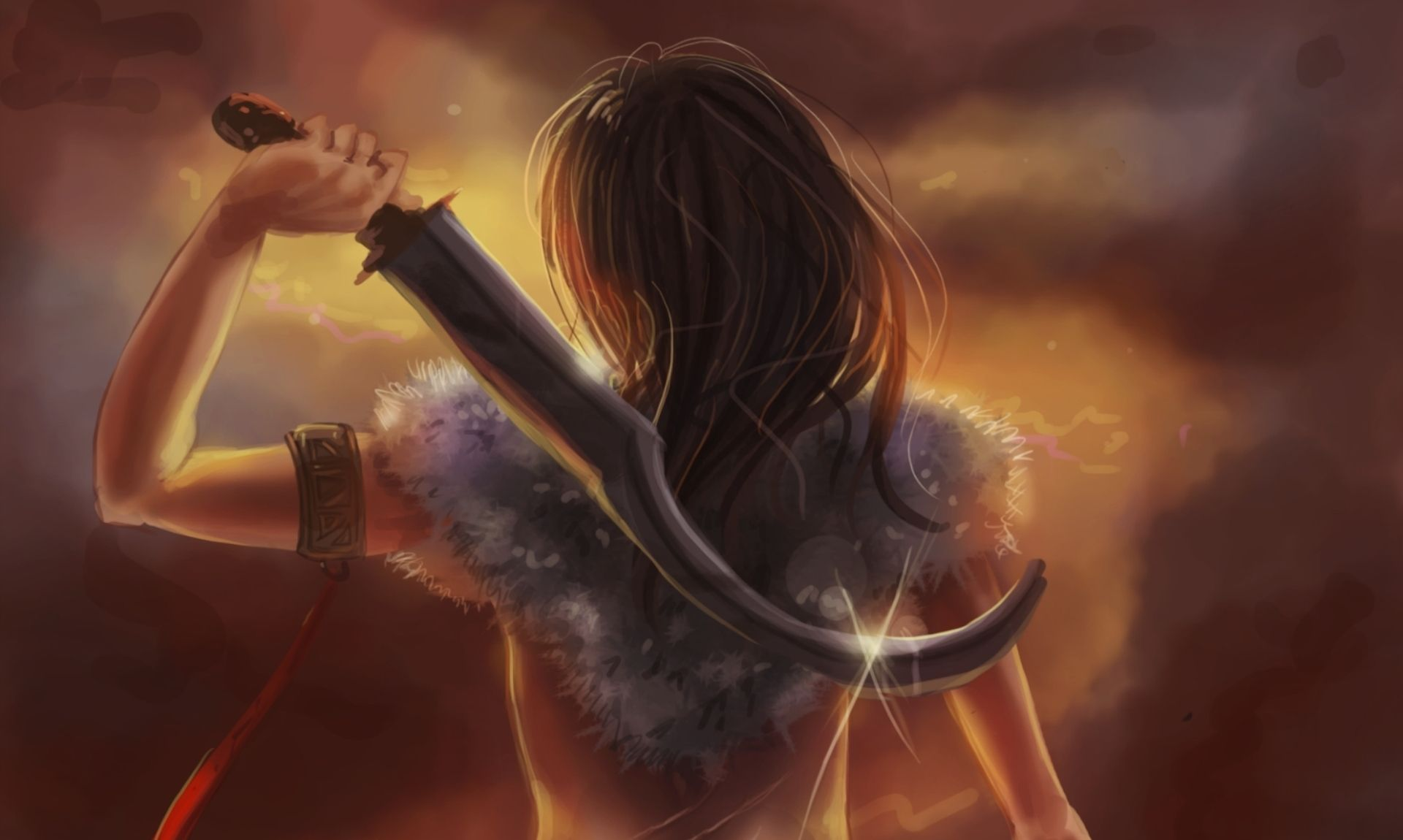 Download Wallpaper Girl Art Hammer Sword HD Background