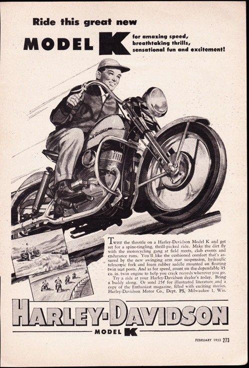 Vintage Ad 1953 Harley Davidson Model K Motorcycle Biker Free U S Shipping Harley Davidson Model Harley Davidson Posters Harley Davidson Crafts