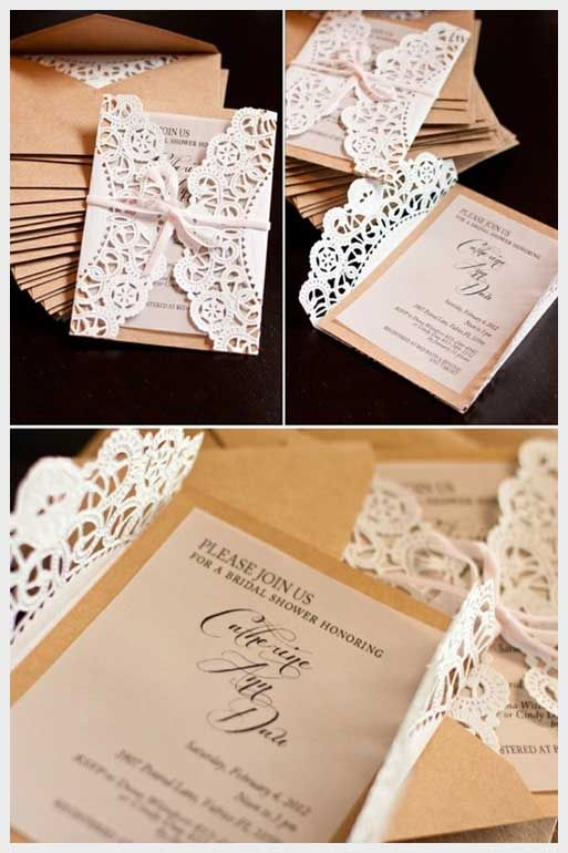 Lace Doily Diy Wedding Invitations Diy Wedding Invitations