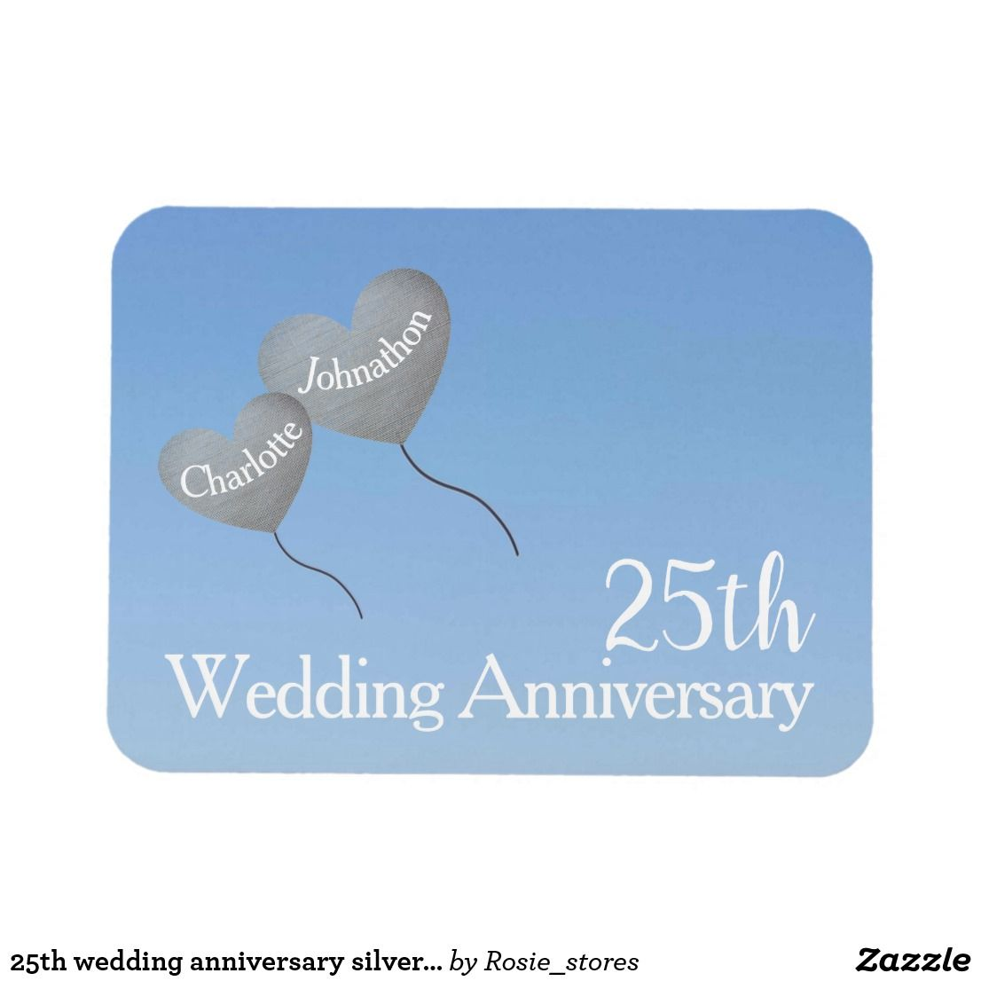 25th wedding anniversary silver heart balloons