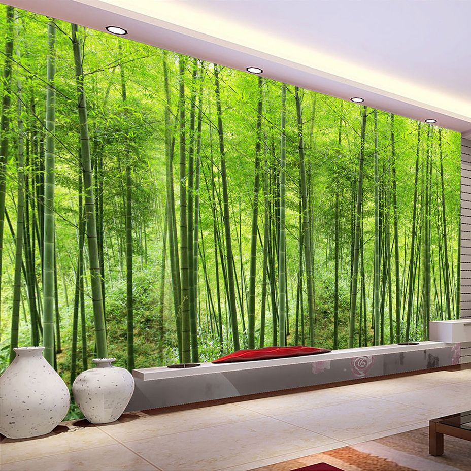 Custom Photo Wallpaper Bamboo Forest Art Wall Painting Living Room