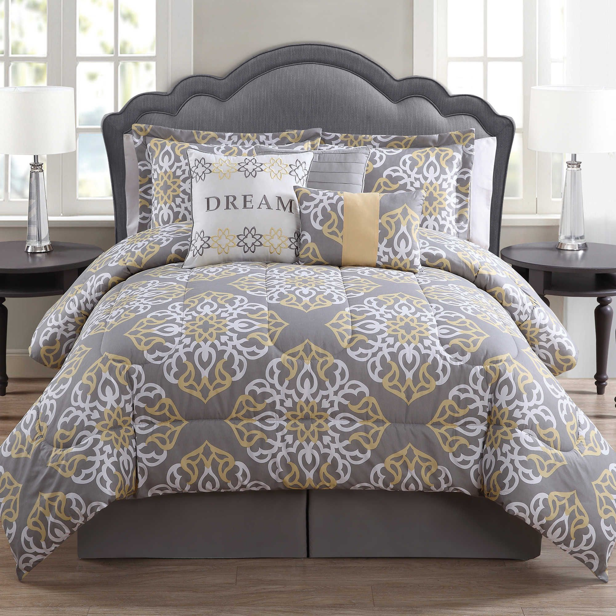 gray grey l yellow bedroom comforter modern comforters with and