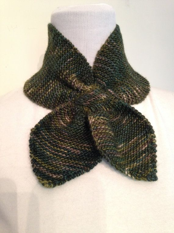 Knit Bow Tie Knitted Neck Scarf Green Merino Wool by SavvyFrills, $33.50