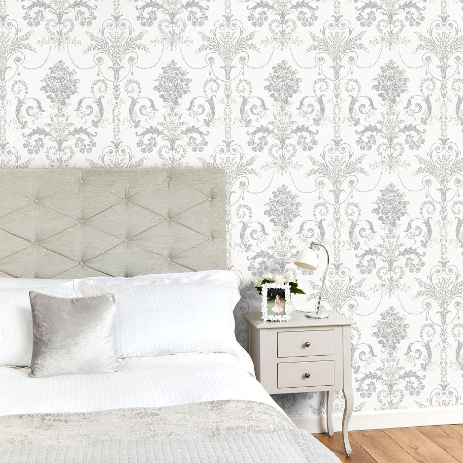 The Glittery World Of Silver Bedroom Ideas: Josette Silver Glitter Wallpaper