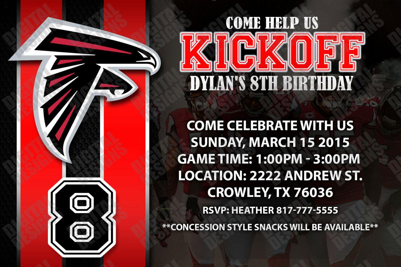 Atlanta Falcons Birthday Invitation Football Birthday Printable Invite Can Be Made For Any Football Birthday Printable Invitations Atlanta Falcons Birthday