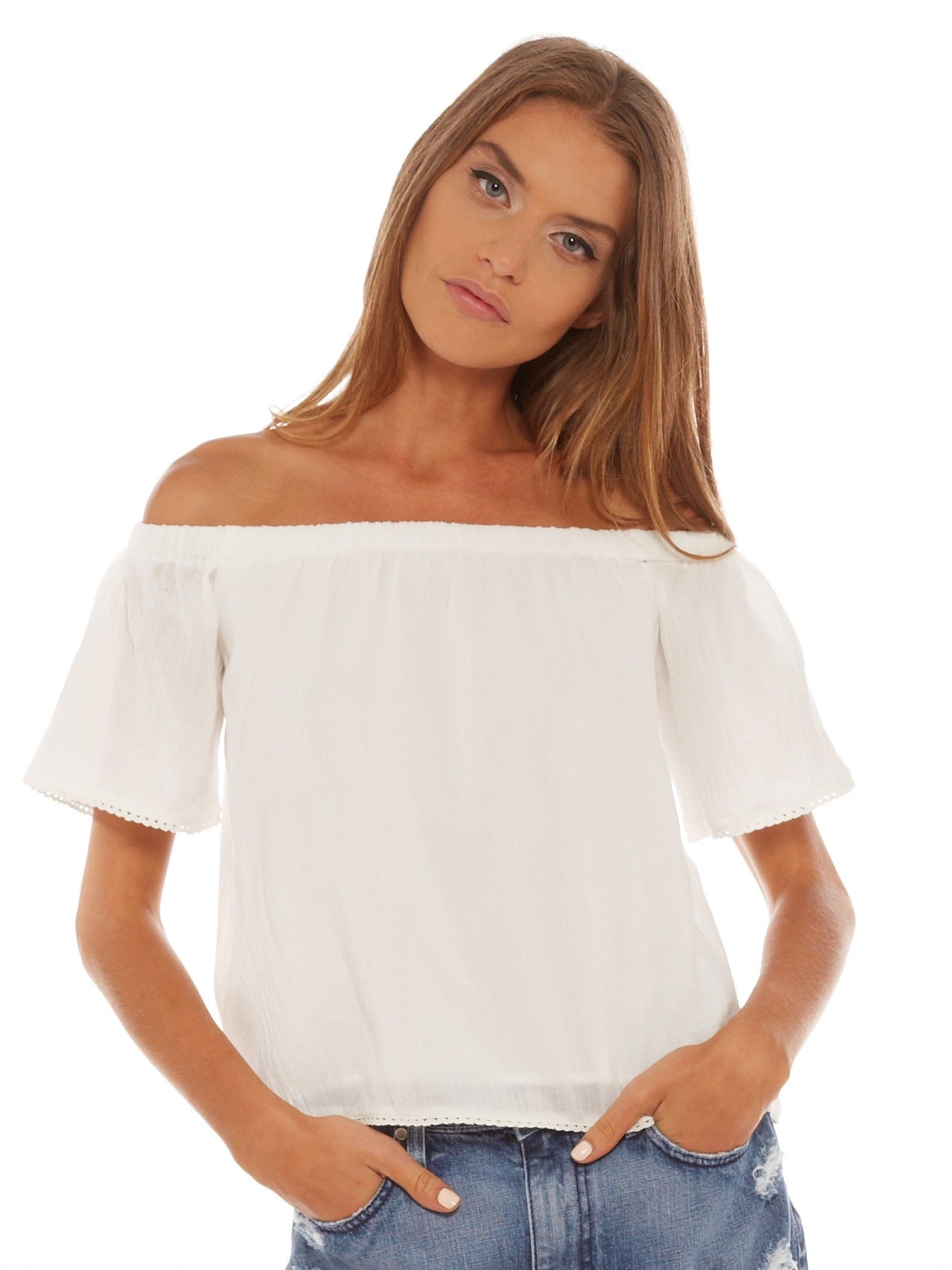 Oasis Off-The-Shoulder Top in White