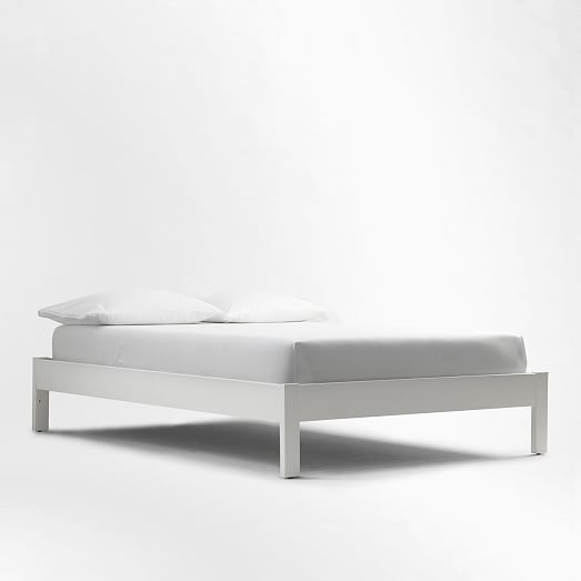 Best Simple Bed Frame White West Elm Can Add A Dove Grey Velvet Headboard Simple Wood Bed 400 x 300