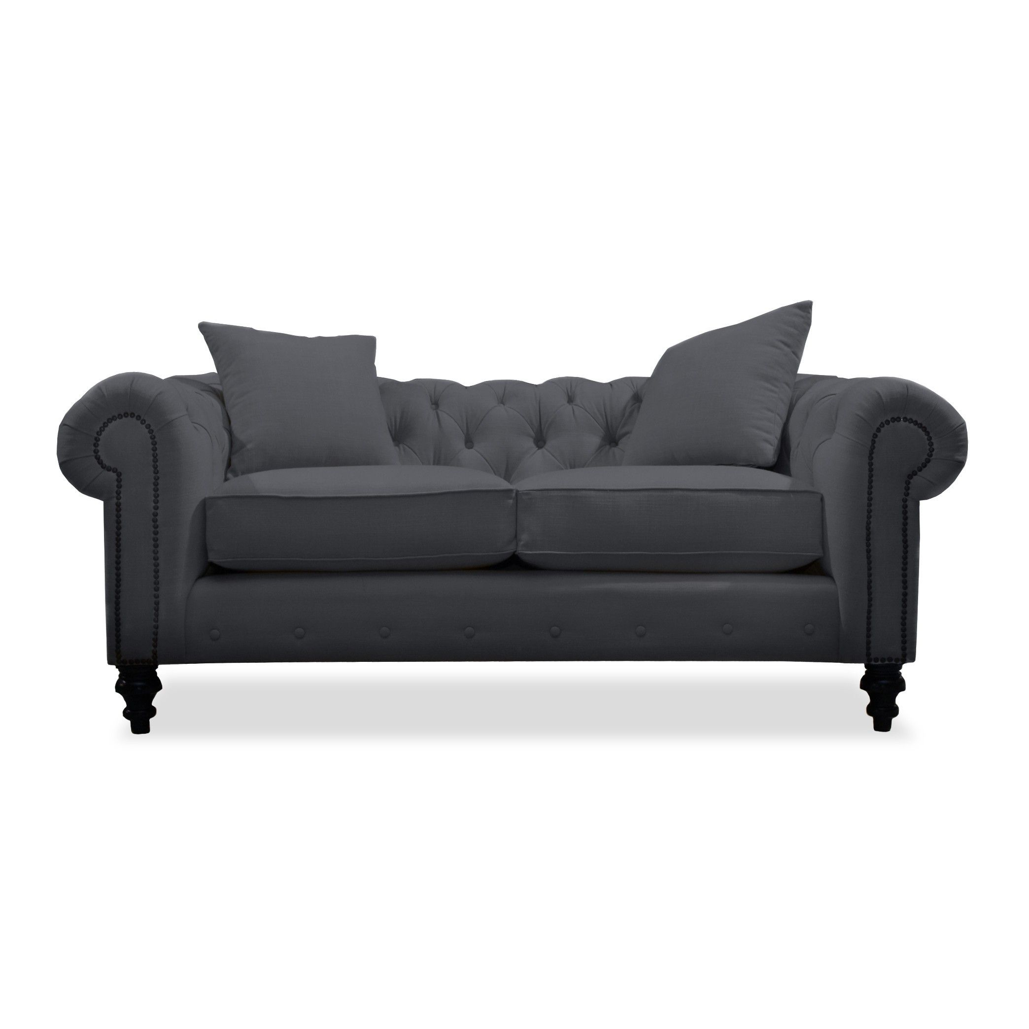 "South Cone Home Hanover Velvet Tufted Sofa 72"" in Charcoal"