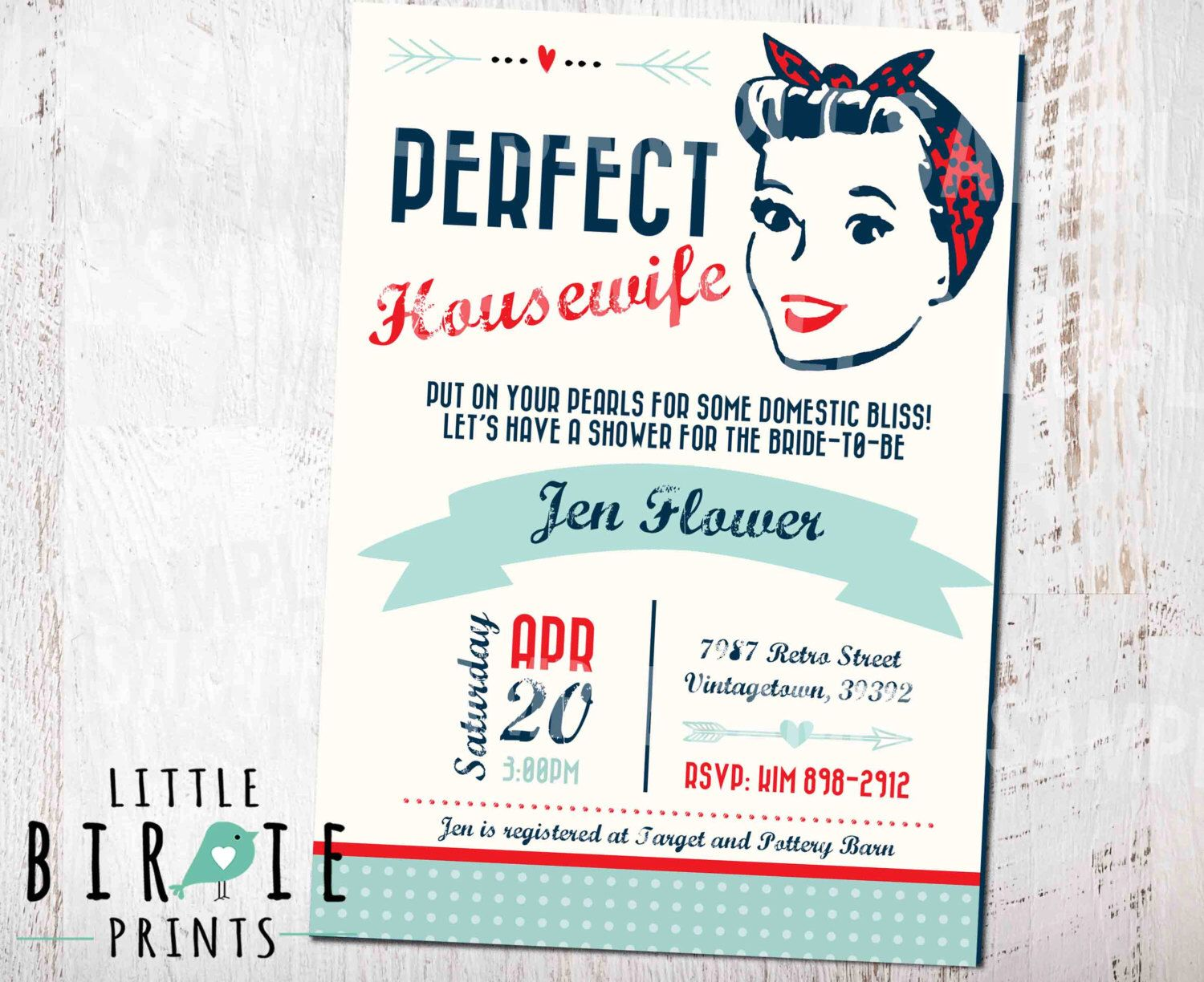 Housewife Retro BRIDAL SHOWER INVITATION - 1950\'s Perfect Housewife ...