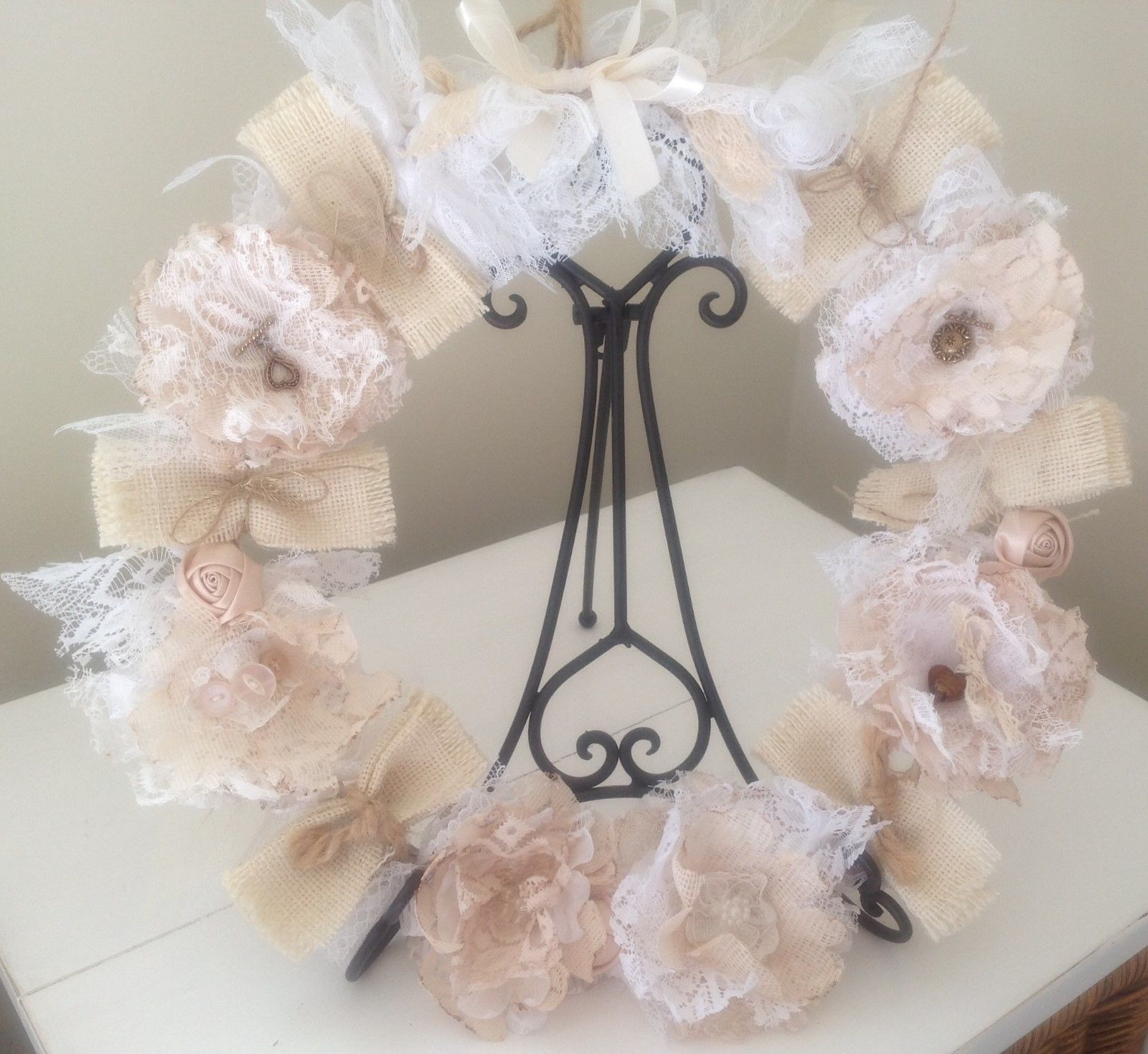 Flower wreath hanging decor vintage lace flowers rustic shabby chic in Home & Garden, Home Décor, Flowers, Floral Décor | eBay