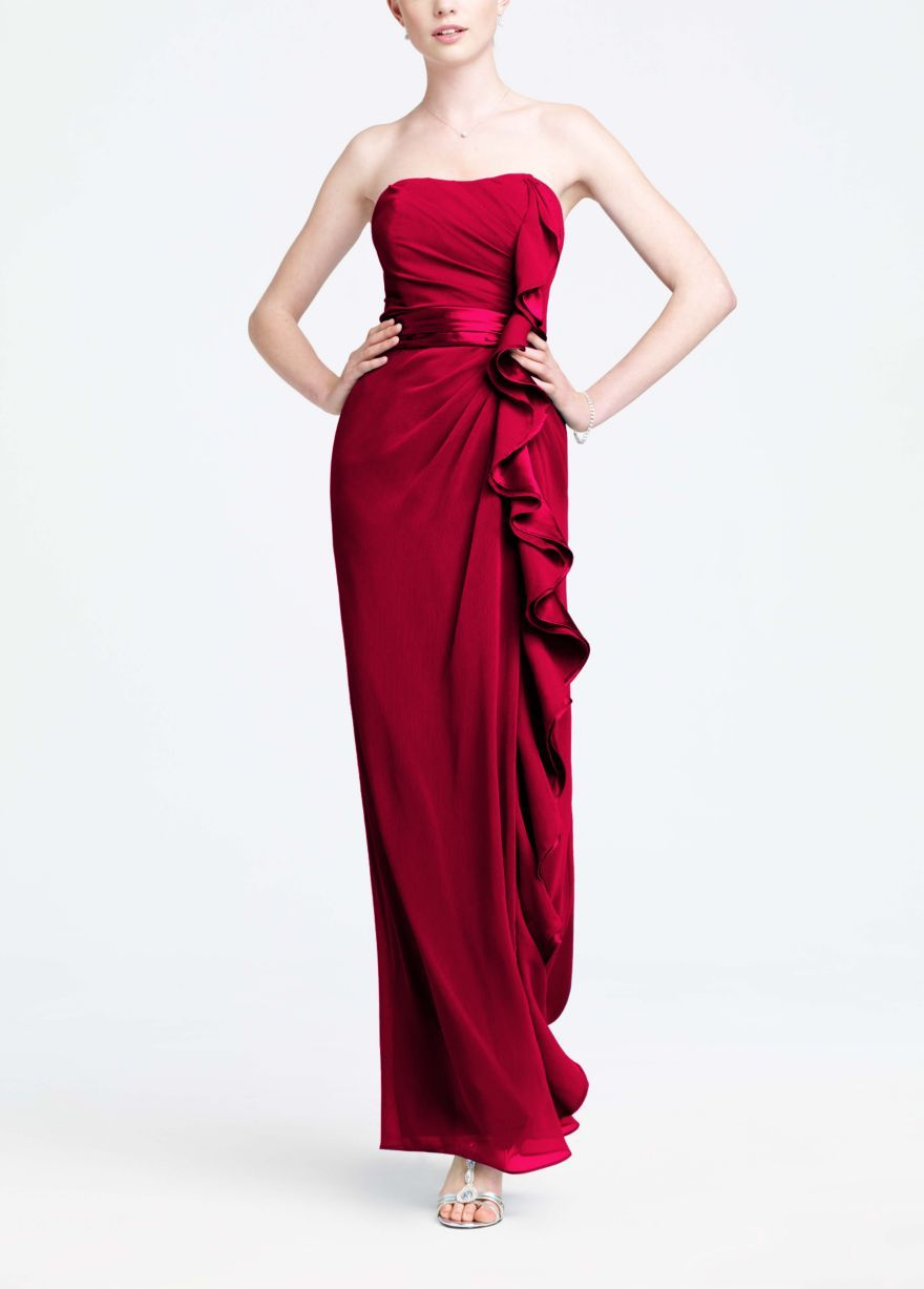 Freeshipping red bridesmaid dresses long strapless with front ruffle