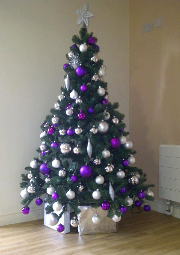 Purple and silver gold christmas tree
