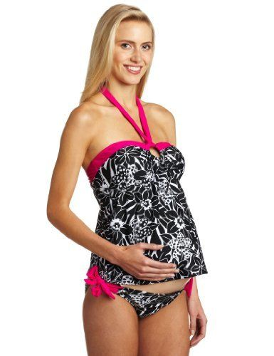 ca8ceb5e25 Maternal America Women's Maternity Boarder O-ring 2 Piece Tankini Maternal  America. $78.75. Made in USA; Adjustable halter neck ties and side bottom  ties ...