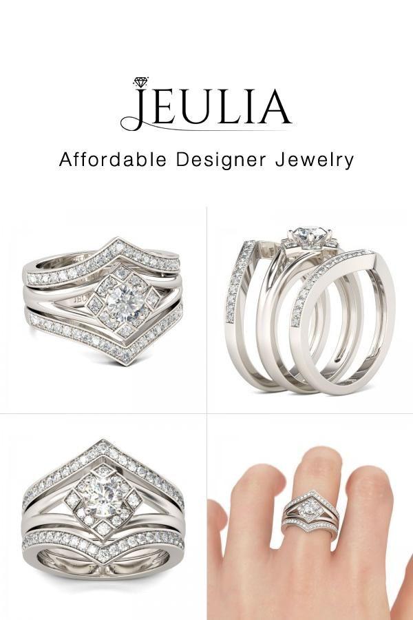 Jeulia Jeulia 3 Piece Wedding Bridal Ring Sets For Women With Halo