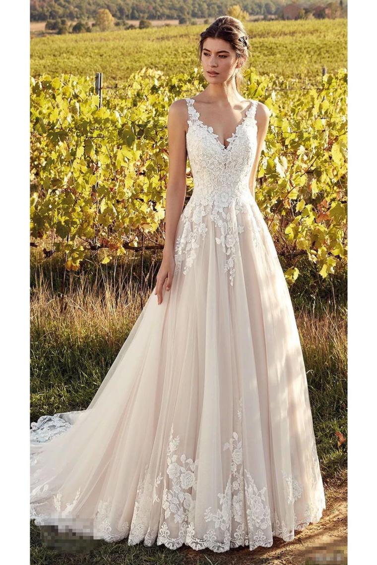 Elegante ärmellose V-Ausschnitt Tüll Brautkleider mit Spitzenapplikationen, eine Linie Braut