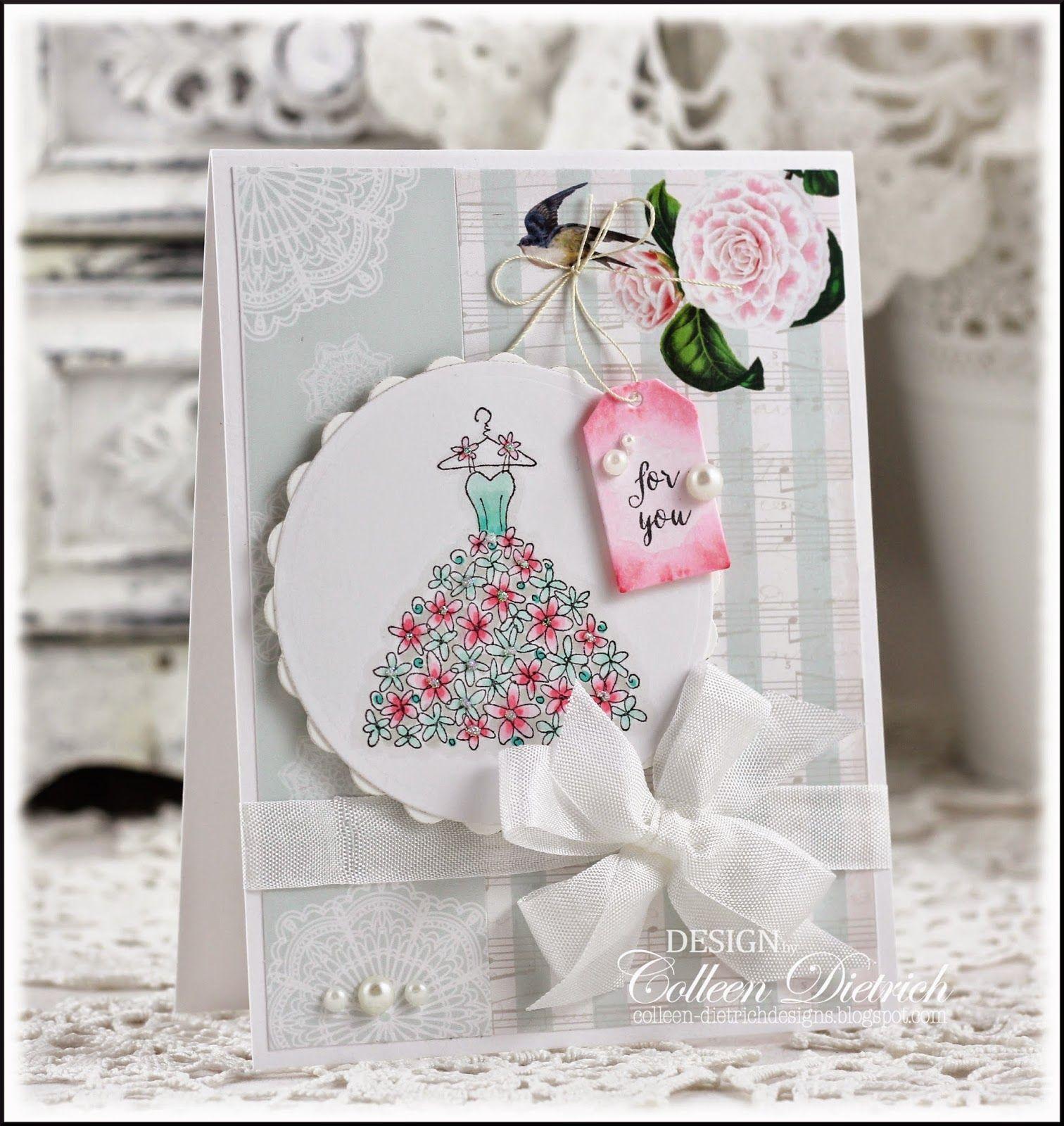 Dietrich Designs Aqua And Pink Wedding Dress Bridal Shower Card