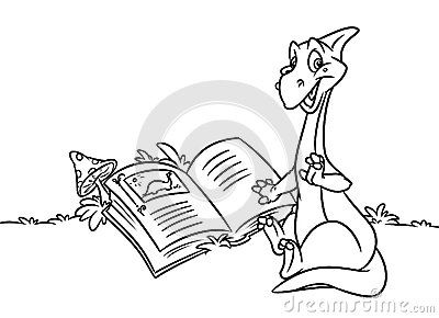 Dinosaur Reading Book Coloring Pages Cartoon Illustration With