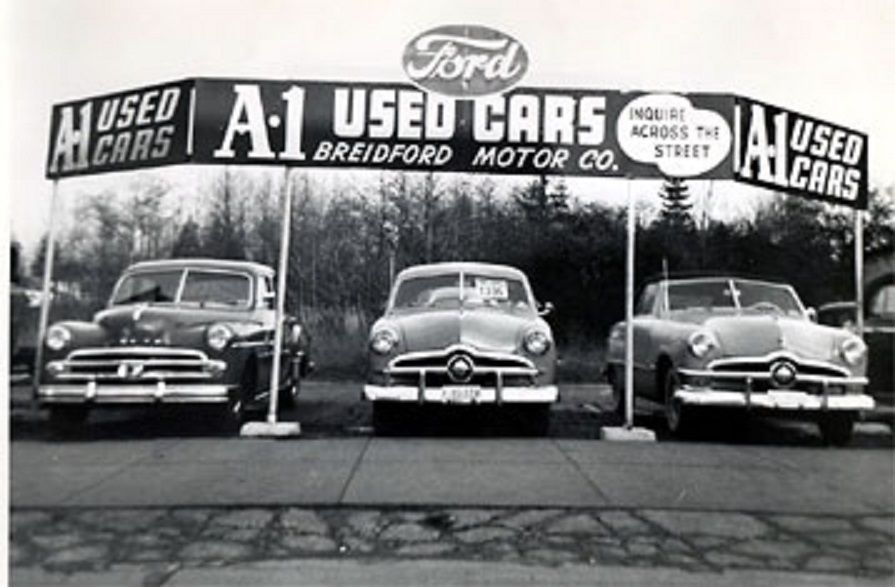 used car lot early 1950s