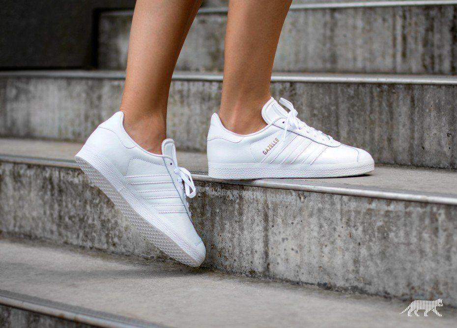 adidas Gazelle (Ftwr White / Ftwr White / Gold Metallic ...