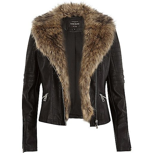 Black leather-look faux fur biker jacket - biker jackets - coats ...