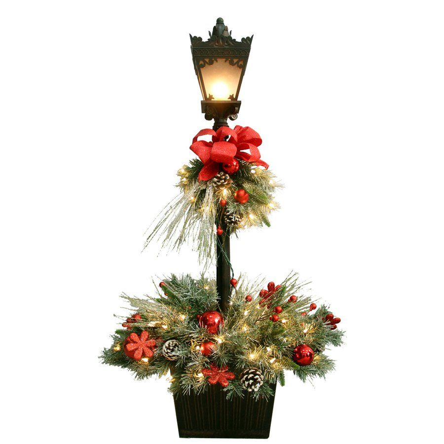 ge 4 ft pre lit decorated artifical pine lamp post with white lights lowes canada
