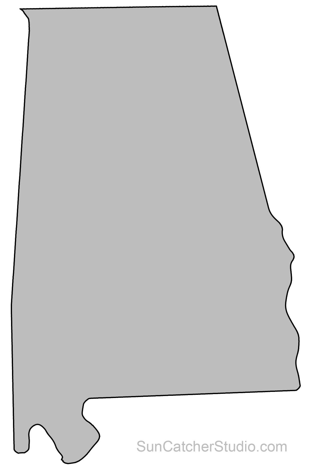 Alabama – Map Outline Printable State Shape Stencil Pattern